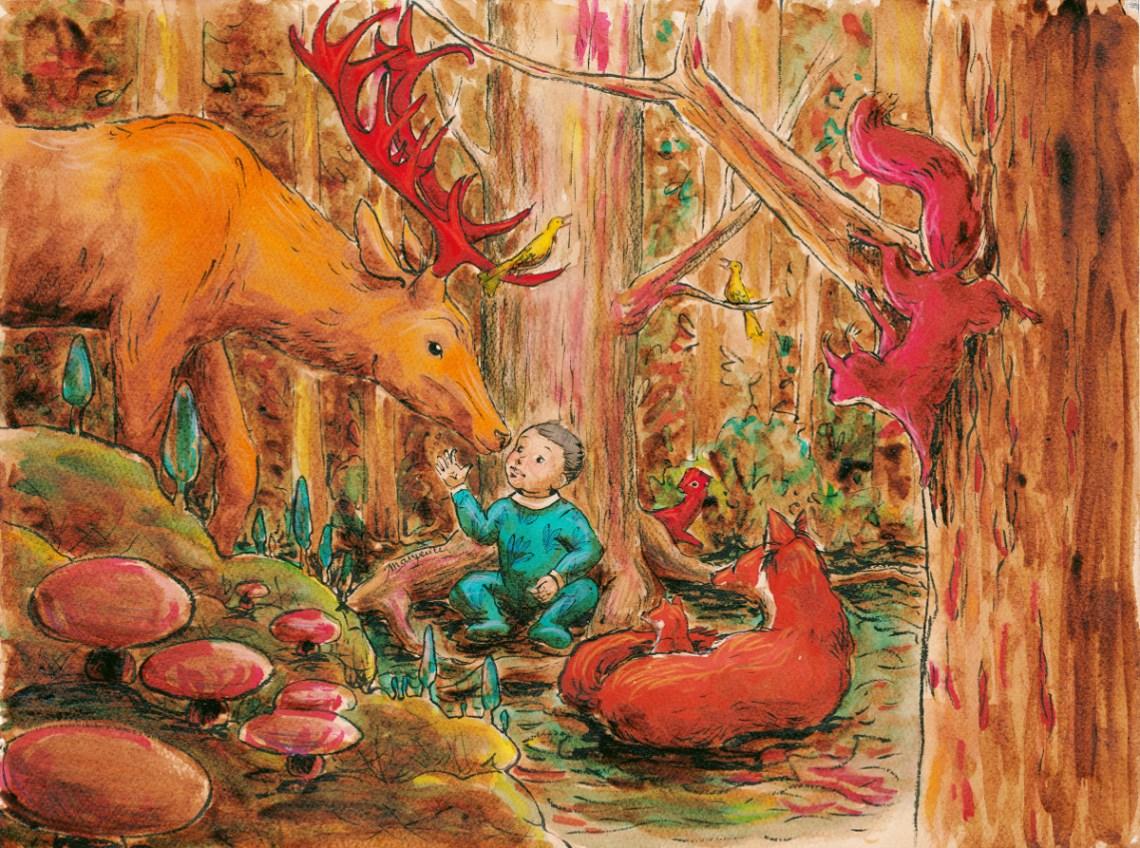 Ambroise et les animaux de la forêt - encre de Chine, café, encres végétales, aquarelle