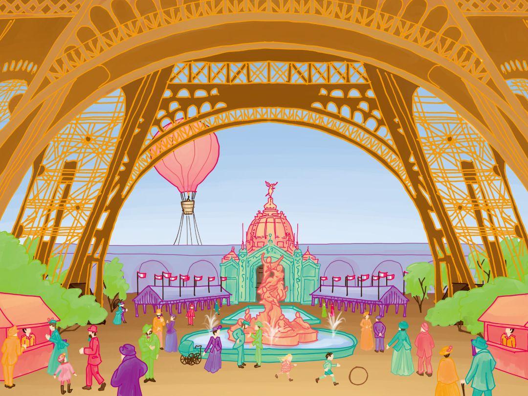 Tour Eiffel - Exposition universelle 1889 - Cours Troubadour - illustration
