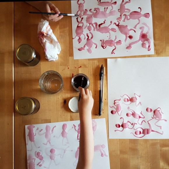 Atelier peinture à la betterave - création 1
