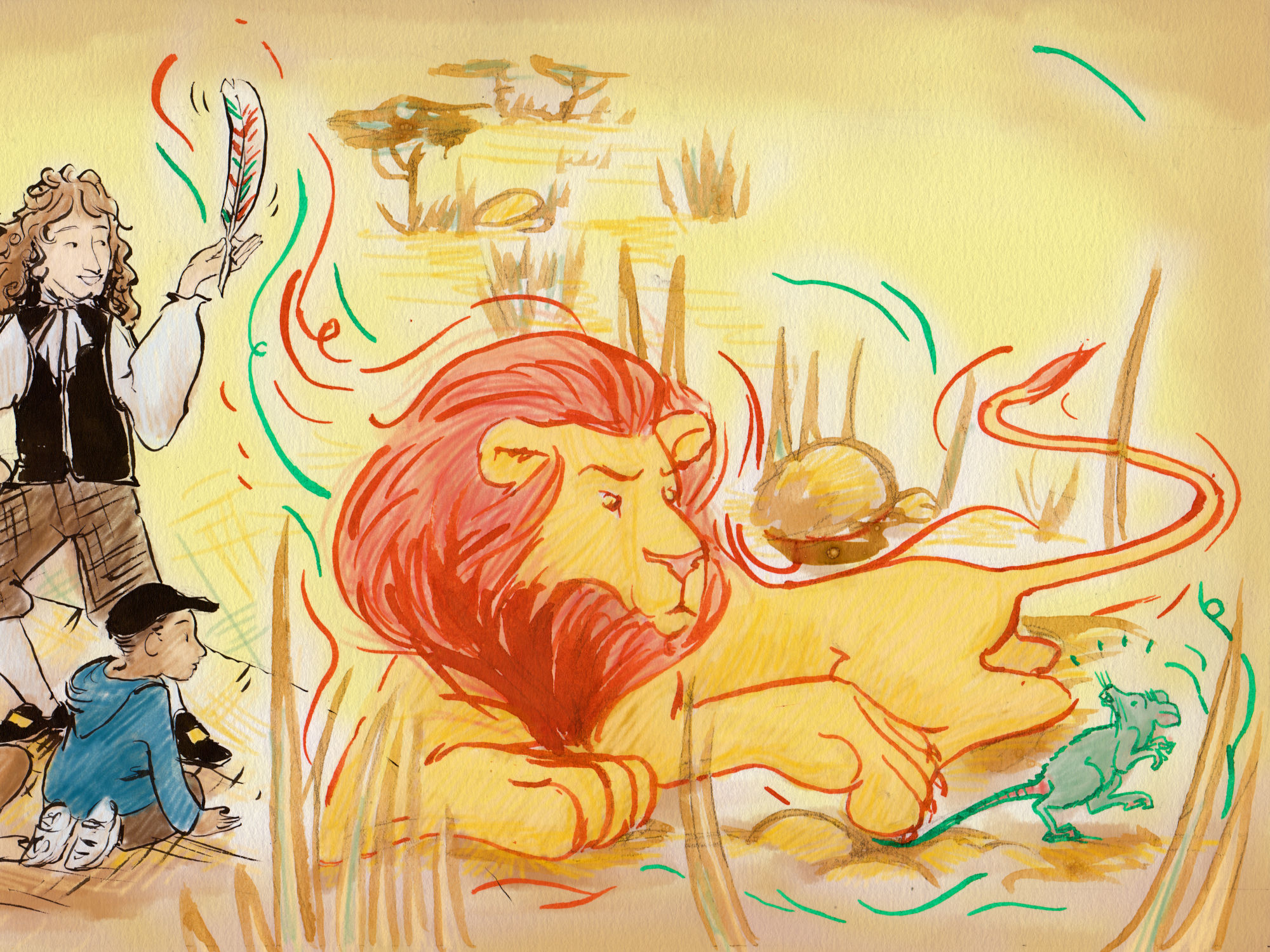 Le Lion et le Rat - Cours Troubadour - illustration