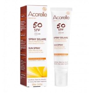 Le spray solaire acorelle spf50 pour les peaux sensibles et les enfants, une protection100% naturelle ux filtres mineraux, sans effet blanc, résiste à l'eau. Disponible sur votre boutique Marguette.com