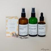 Une routine pour les peaux grasses : savons surgras, hydrolat de bambou, gel d'aloe vera et huile de thé blanc.