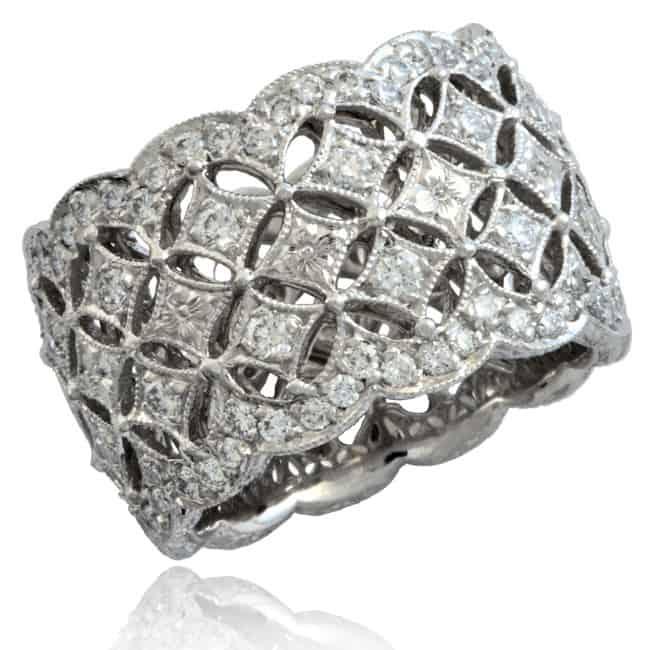 Wide Piercework Diamond Ring Image