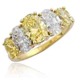 Fancy Yellow Oval Diamond Ring Image