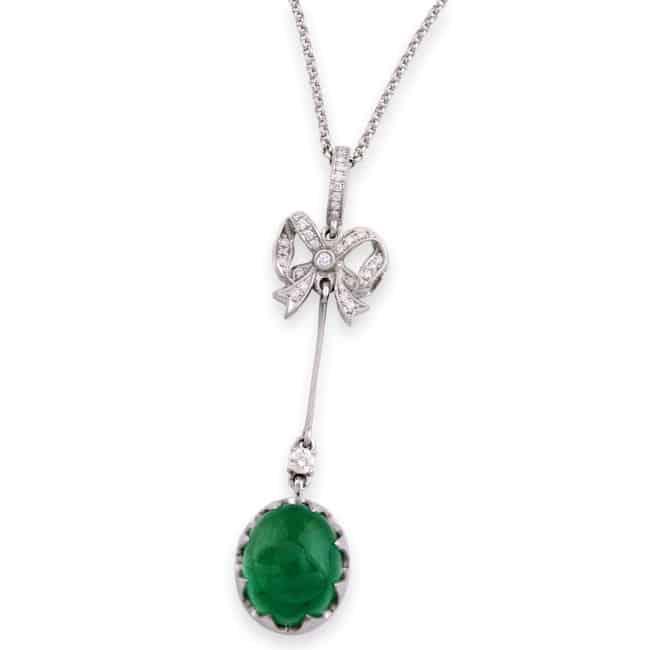 Cabochon Emerald & Diamond Bow Pendant Image