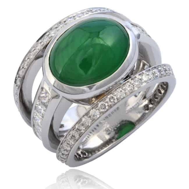 Jade & Diamond Triple Ring Image