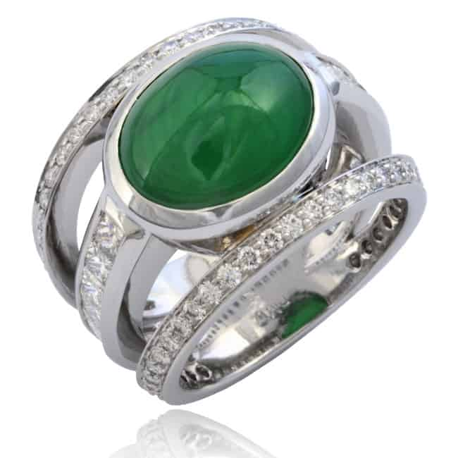 Jade & Diamond Triple Ring Image