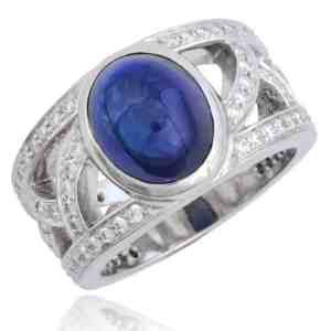 """French"" Openwork Cabochon Sapphire & Diamond Ring Image"