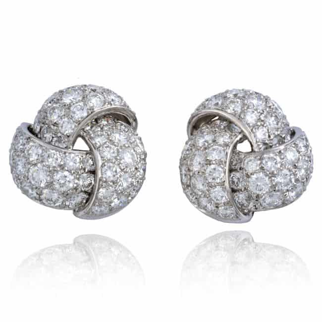 Platinum Knot Design Diamond Earrings Image