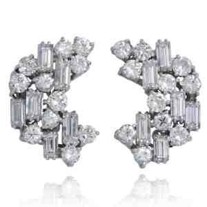 Vintage Diamond Cluster Earrings Image
