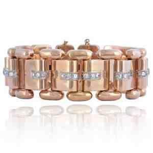 Vintage 18K Rose Gold Diamond Bracelet Image