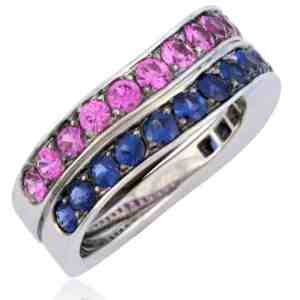 Wave-Design Sapphire Stackable Rings Image