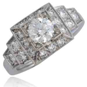 Geometric-Design Platinum Diamond Ring Image