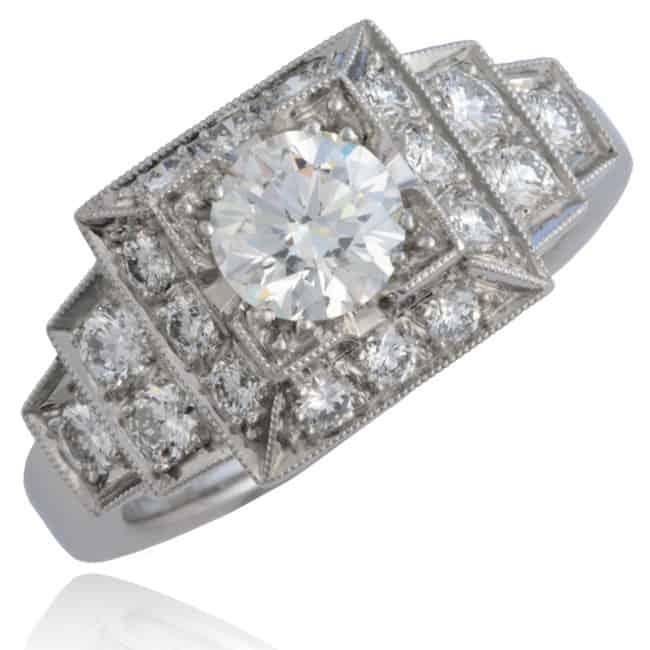 Geometric-Design Platinum Diamond Ring Image