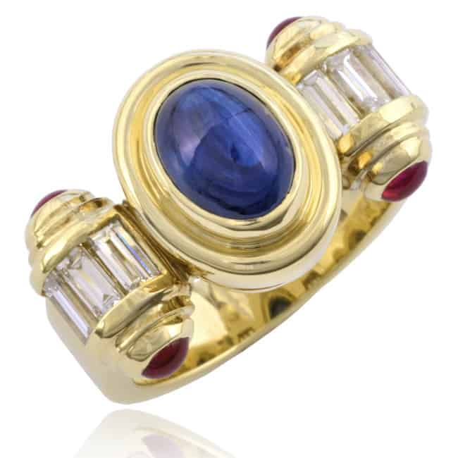 Cabochon Sapphire scroll design ring Image