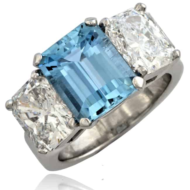 Custom Aquamarine & Diamond Ring Image