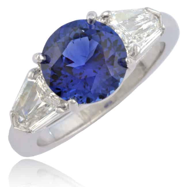 Sapphire & Shield-cut Diamond Ring Image