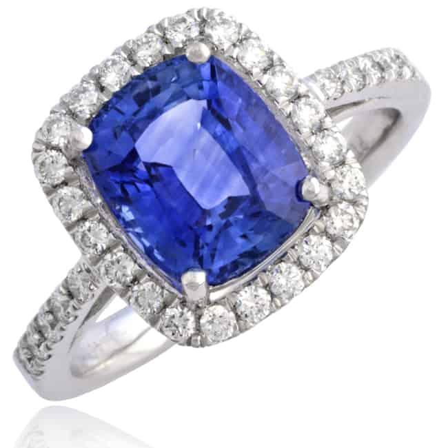 Vintage Blue Sapphire & Diamond Ring Image