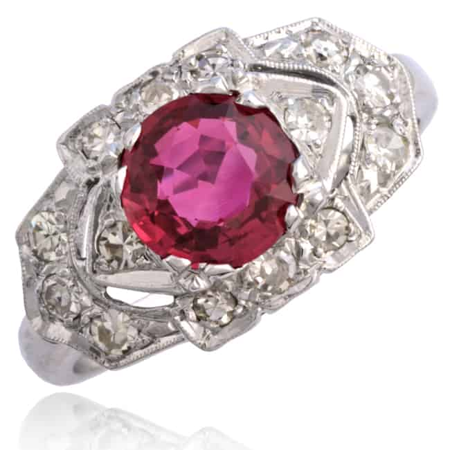 Red Ruby & Diamond Ring Image