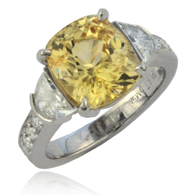Yellow Sapphire & Diamond Ring Image