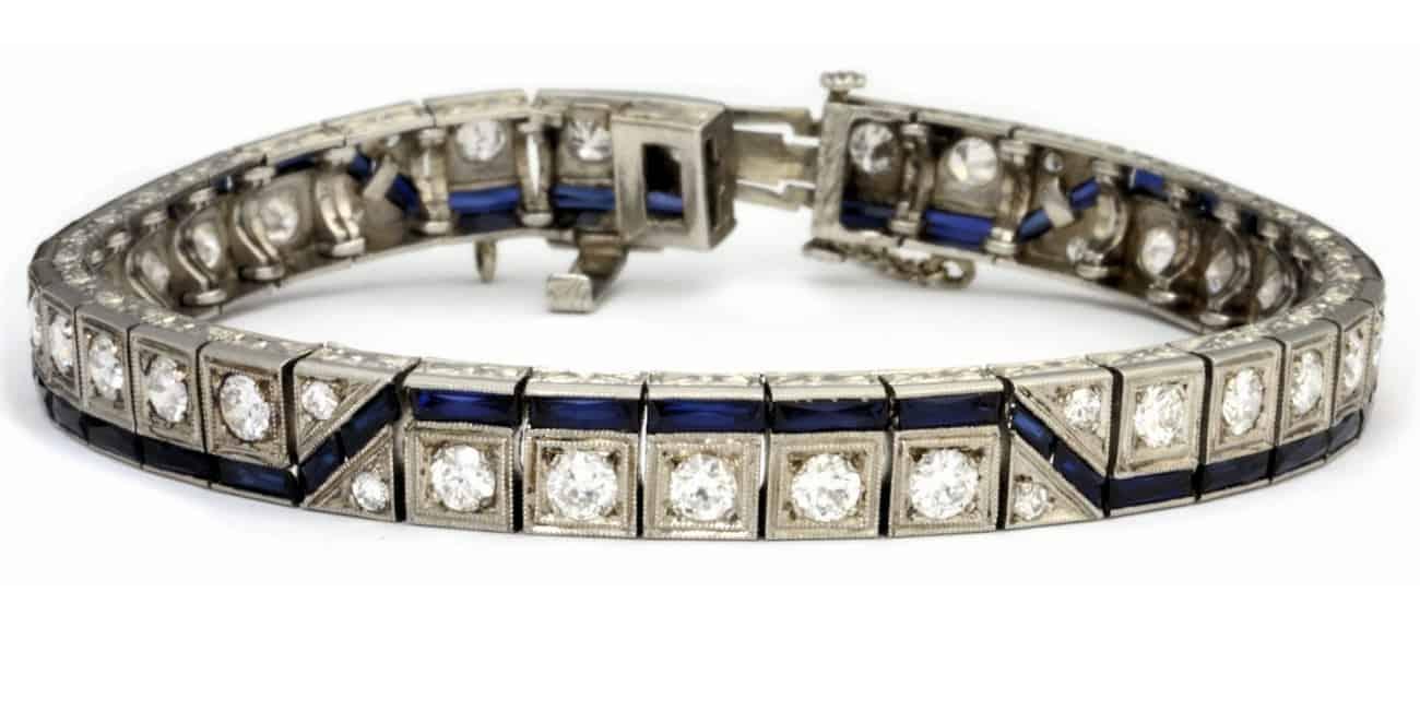 Art Deco Diamond & Sapphire Bracelet Image
