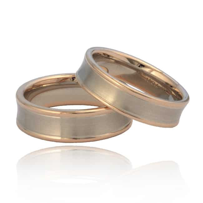 Rose Gold & Silver Wedding Band Image