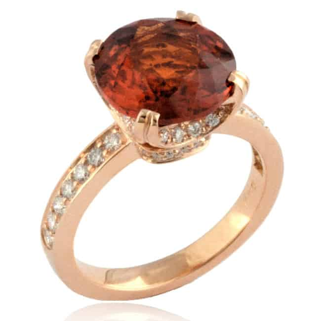 Hessonite & Diamond Ring Image
