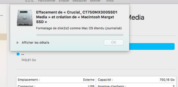 Choisissez le nom du SSD et laissez le format et le schéma