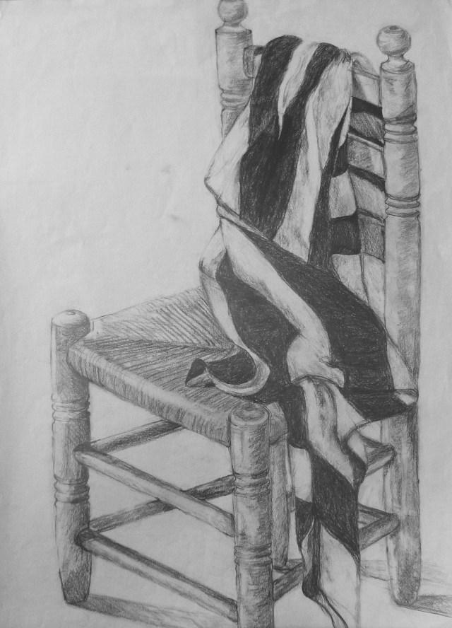 1991 - Stuhl mir Tuch, 40x50cm, Bleistift
