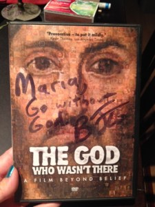 A gift from Brian Flemming, The God Who Wasn't There DVD
