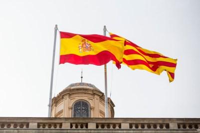 Spain and Catalunya flags