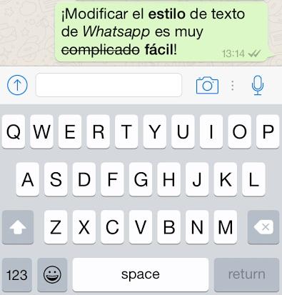 texto modificado en whatsapp