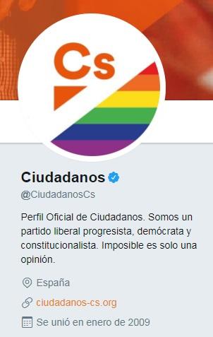 El partido político Ciudadanos se une a las celebraciones del Pride 2017 añadiendo un arcoíris a su foto de perfil en Twitter | Maria en la red