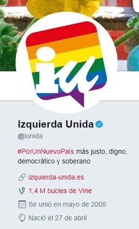 El partido político Izquierda Unida se une a las celebraciones del Pride 2017 añadiendo un arcoíris a su foto de perfil en Twitter | Maria en la red