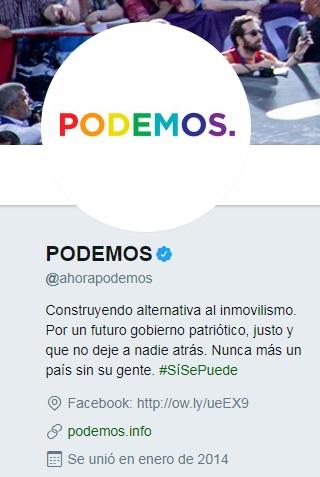 El partido político Podemos se une a las celebraciones del Pride 2017 añadiendo un arcoíris a su foto de perfil en Twitter | Maria en la red