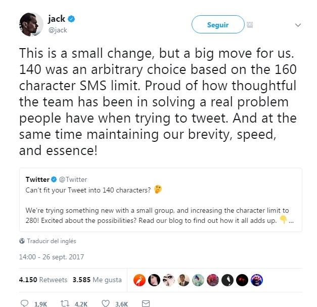jack dorsey anuncia que twitter elimina el limite de 140 caracteres