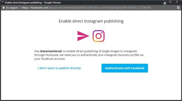 Activar la publicación en Instagram desde Hootsuite | Maria en la red