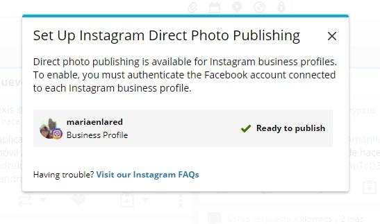 Perfil autentificado en Hootsuite para publicar en Instagram | Maria en la red