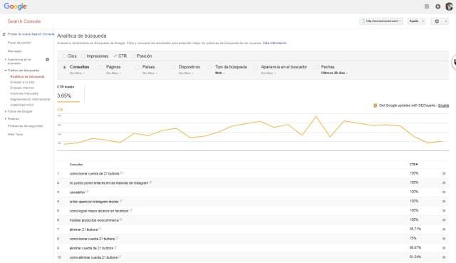 Google Search Console Analítica de búsquedas por CTR | Maria en la red