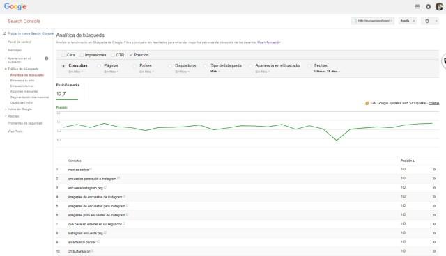 Google Search Console Analitica de búsquedas por posición | Maria en la red