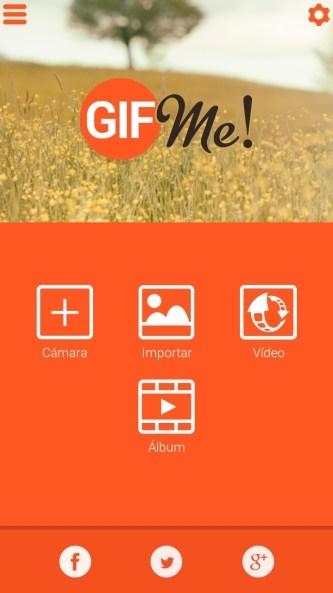 Las cuatro opciones que te ofrece Gif Me! para empezar a trabajar para crear GIF's personalizados.