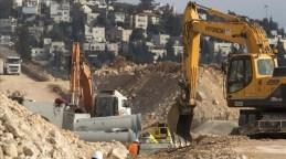 Obras de infraestructura en la colonia Ramat Shlomo (Jerusalén Este) en enero.
