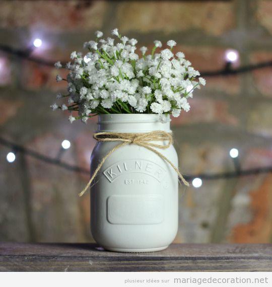 Pot en verre peint en blanc noeud en jute et panicules centre de table diy d coration - Idee deco table pas cher ...