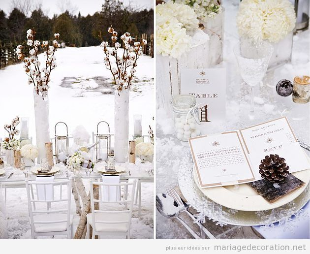id es pour d corer une table mariage en hiver. Black Bedroom Furniture Sets. Home Design Ideas