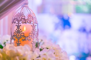 lanterns with candle in  wedding stage decoration .
