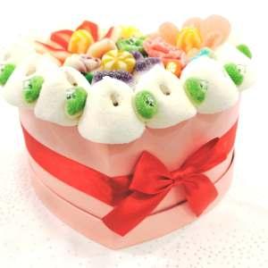gâteau de bonbons, gâteau de mariage, chamallows, wedding candy, desserts de mariage, ruban rouge, boîte rose bonbons