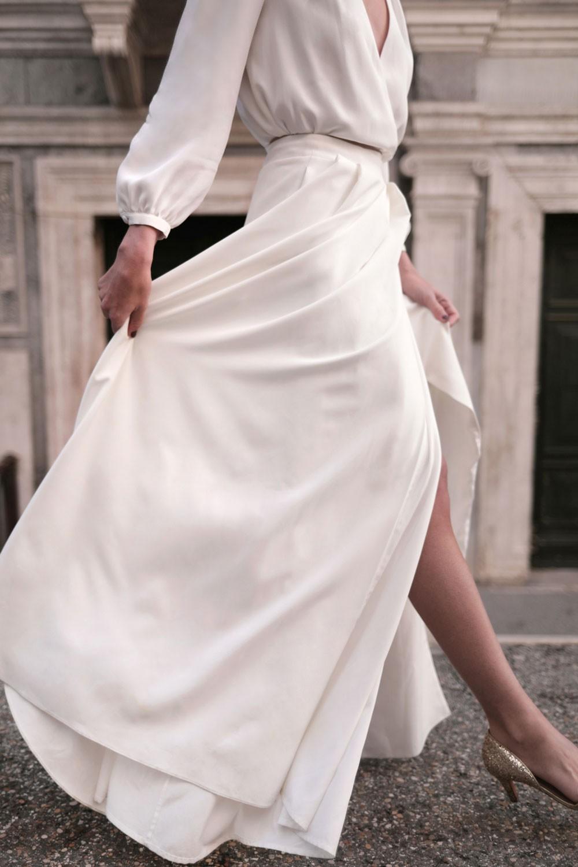 jupe de mariée, collection 2021, Maison Lemoine Paris, modèle Aure, jupe portefeuille