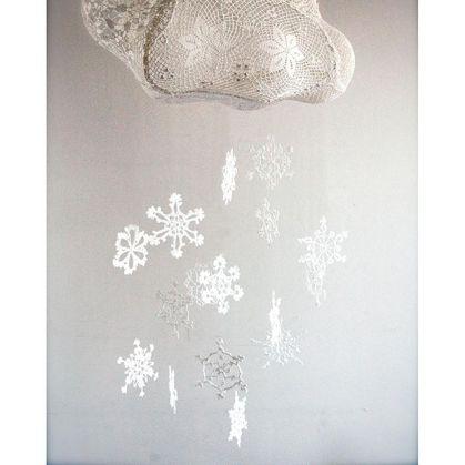 nuage suspension flocons hiver maillo design