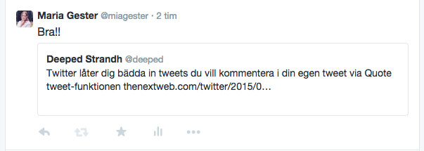 Twitters quote tweet-funktion ger mer utrymme