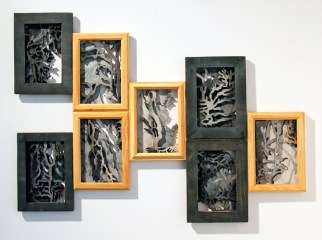 Lymphatic in Boxes, laser cut painted in wooden frames